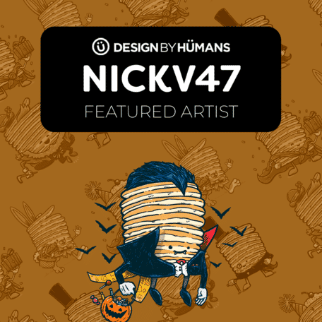 A spooky Captain Pancake floats in a feature graphic for Design By Humans