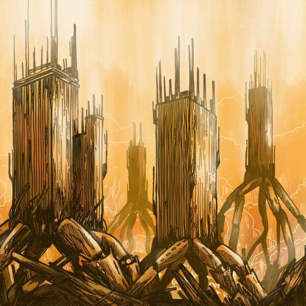 Album Art of Audioshock's 'Closure' EP. Features a large robotic skyscrapers in a dystopian orange sky.