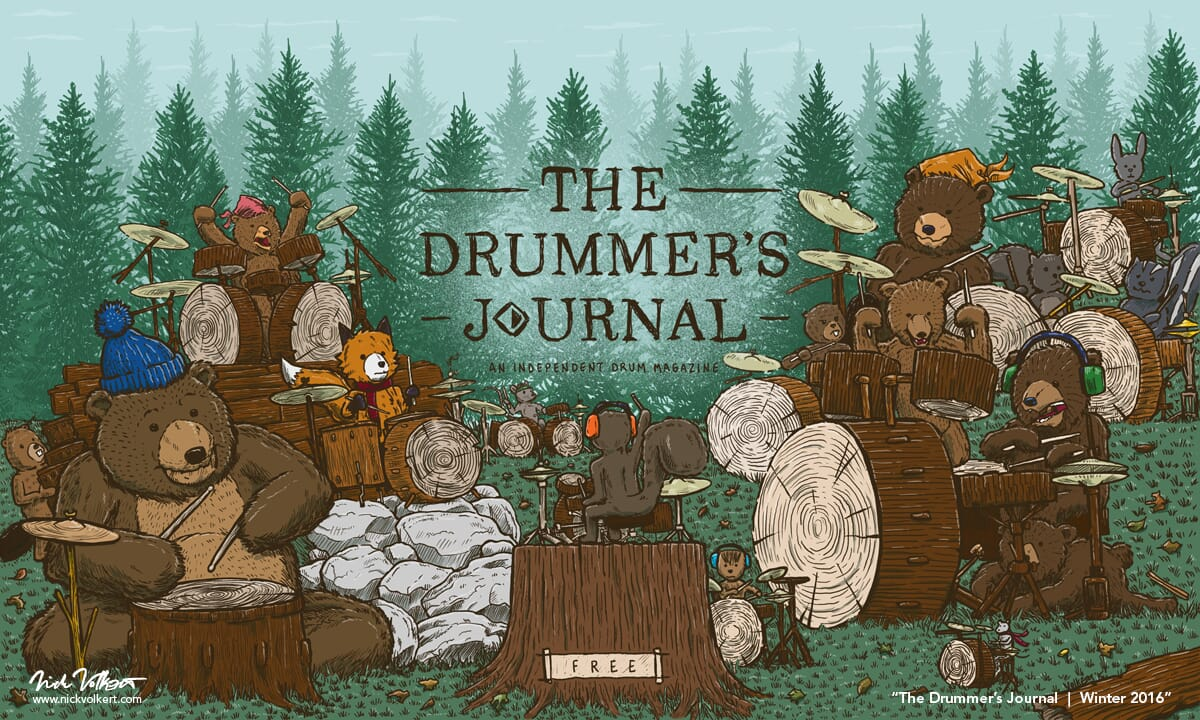 A large gathering of forest creatures jam on logs and wood drums to a squirrel drum instructor.