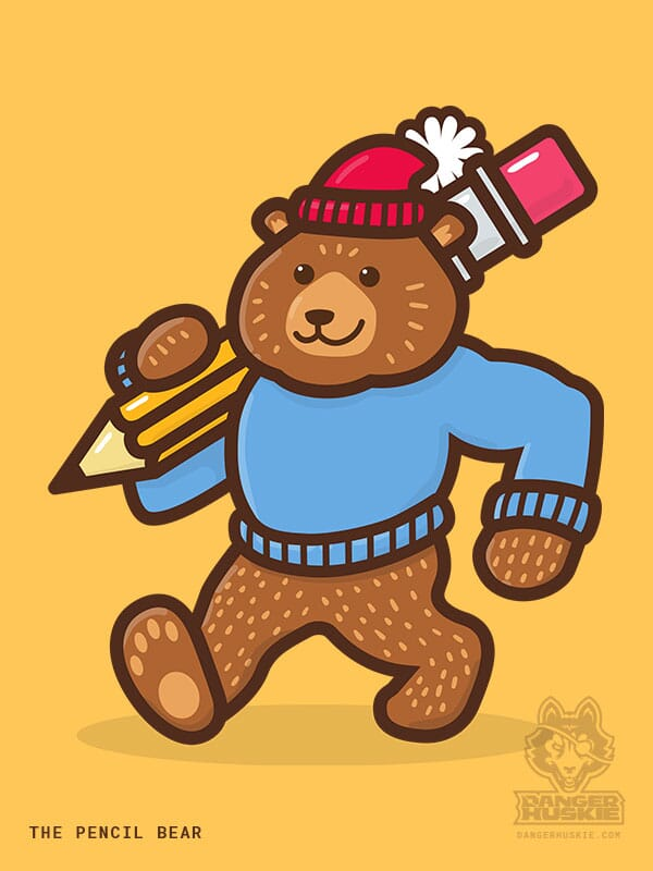 A bear with a stocking cap and sweater is walking by with a giant number 2 pencil.
