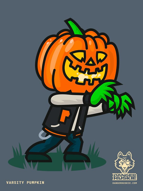 A man with a jack o' lantern head is marching by in a varsity jacket in the dark.