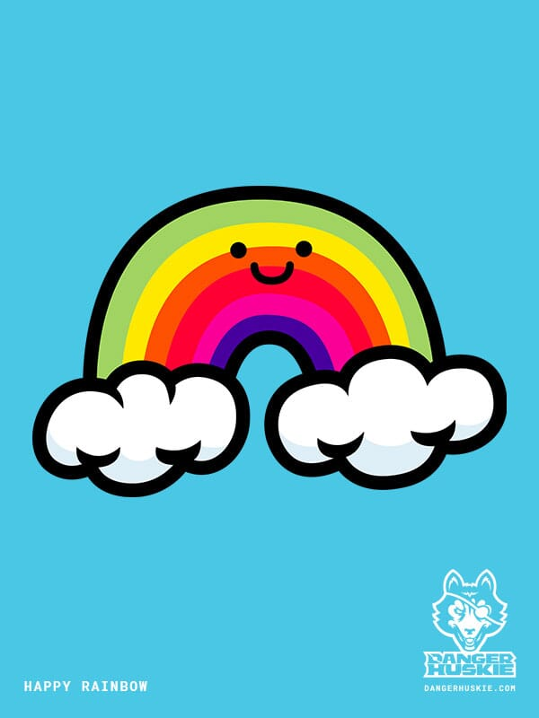 A happy rainbow touching two clouds.