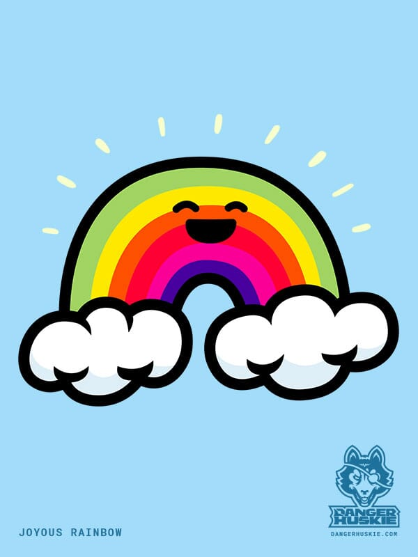 A joyous rainbow touching two clouds.
