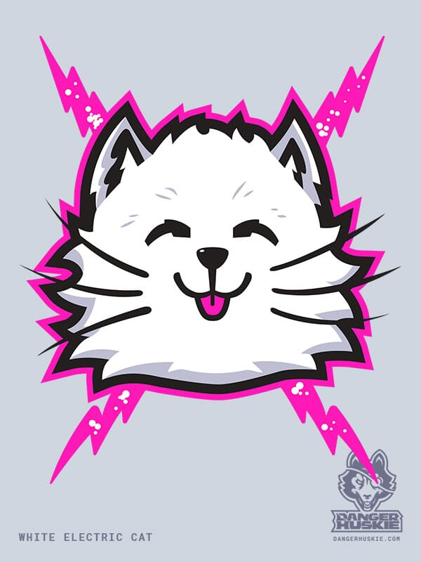A white cat with pink bolts purrs at the viewer.