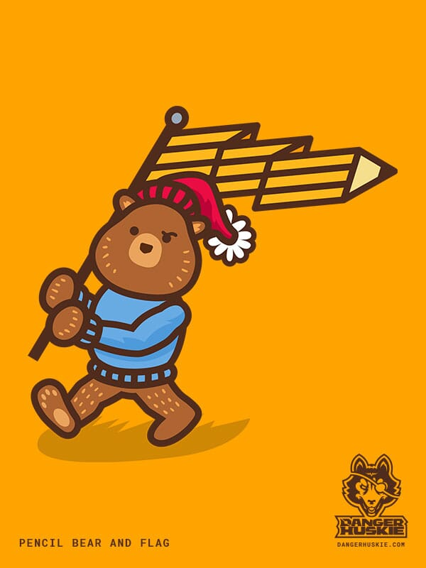 A bear walks with a flag that is a pencil.