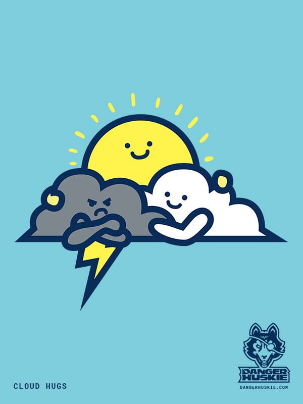 A grumpy thunder cloud gets a hug from a fluffy white cloud and the sun.