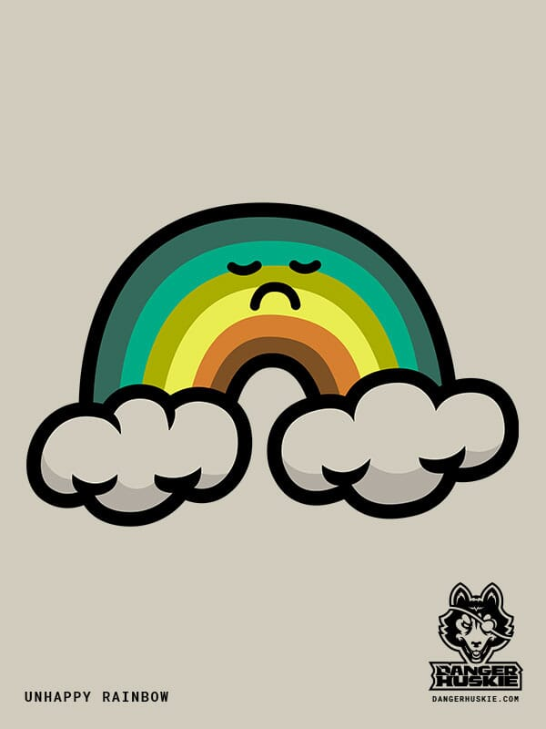 A dingy rainbow sports a frown between to storm clouds.