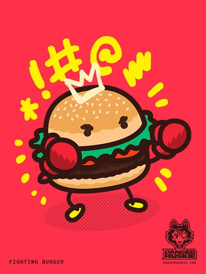 A burger with boxing gloves has his dukes up.