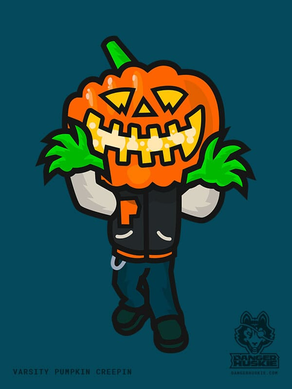A man in a varsity jacket with a Jack O'Lantern head approaches the viewer.