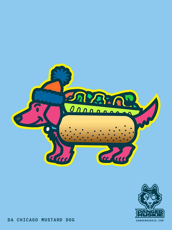 A dachshund smiles while wearing a stocking cap and Chicago style hot dog costume.