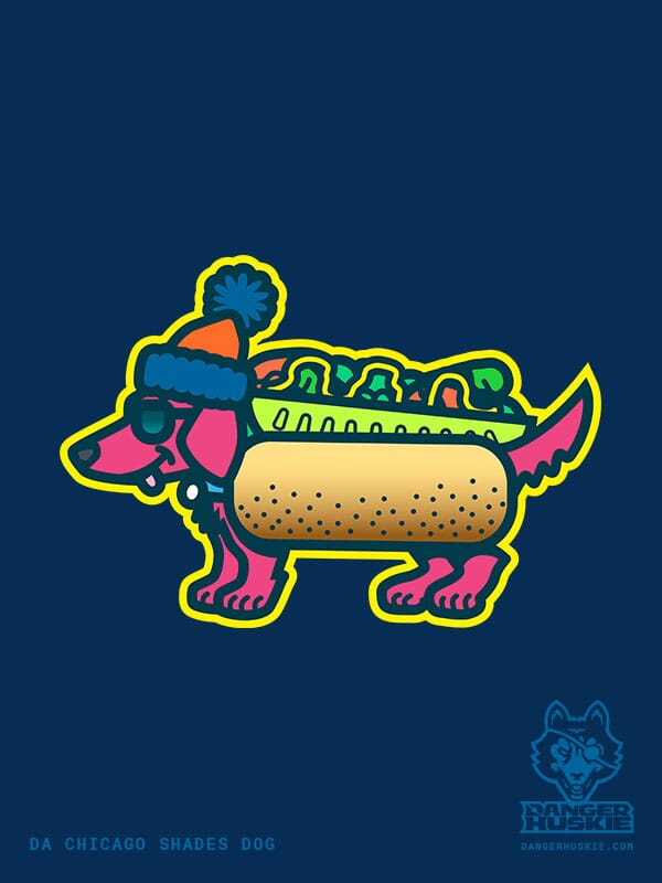 A dachshund is wearing shades, a stocking cap, and a cool Chicago Style Hot Dog costume.