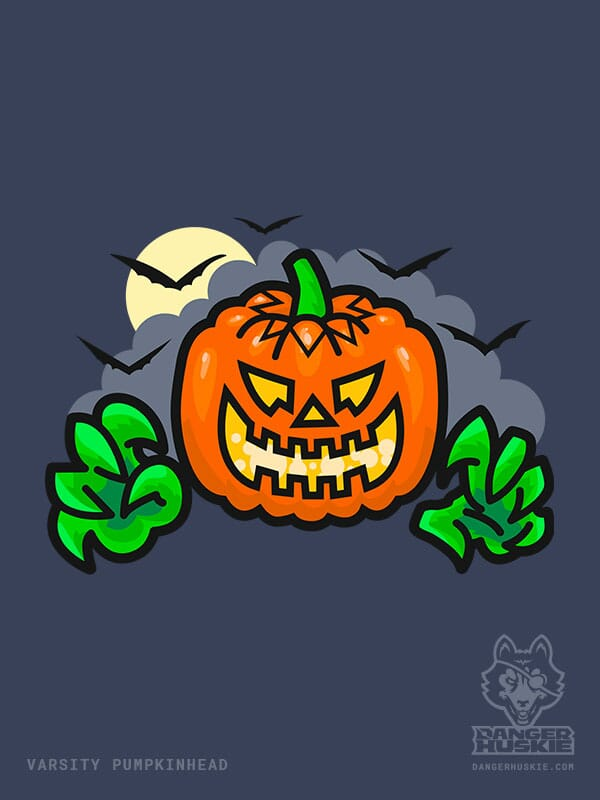 A floating Jack O'Lantern reaches out with a full moon, clouds, and bats in the background.