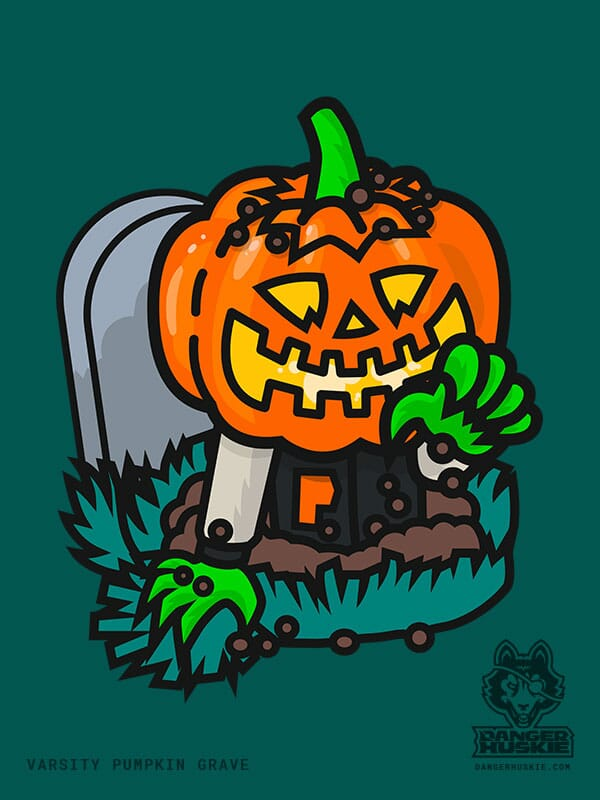 A man in a varsity jacket with a Jack O'Lantern digs out of his own grave!