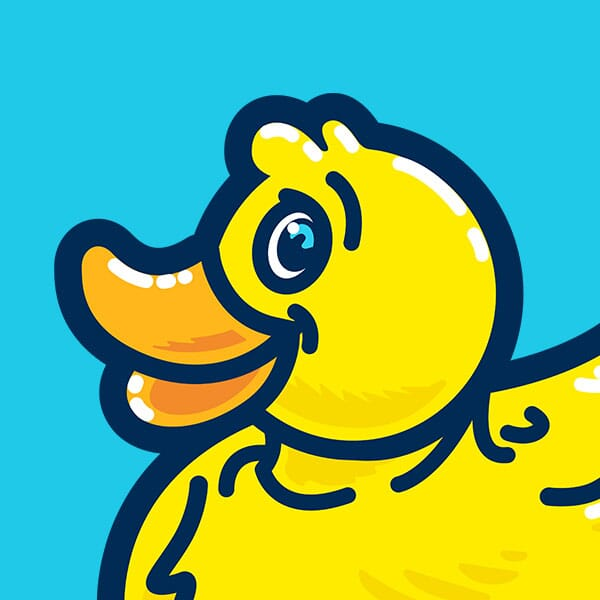 A cute rubber duckie is surrounded by bubbles.