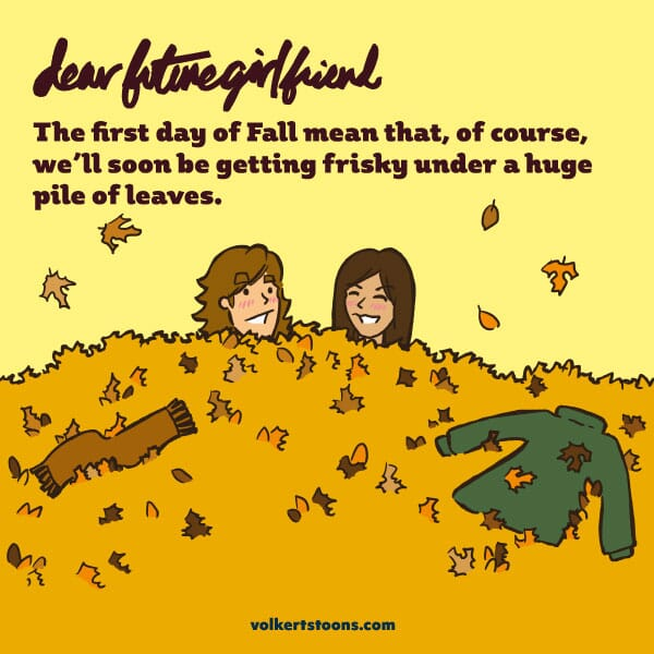 A couple gets frisky under a large pile of leaves.
