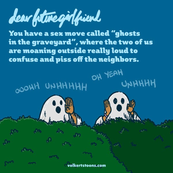 Two people dressed as ghosts pester their neighbors.