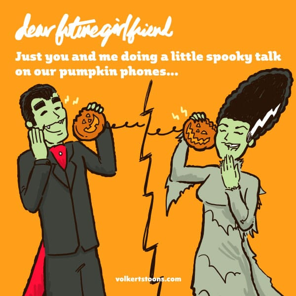 A couple dressed as frankenstein's brde and dracula flirt over the phone.