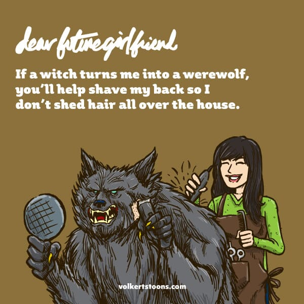 A woman trims the hair of a male werewolf.