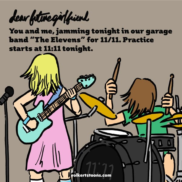 A couple jams in a garage band on 11/11 at 11:11.
