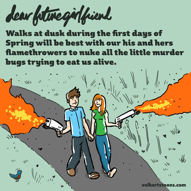 A couple has two flamethrowers ablaze while going on a walk.