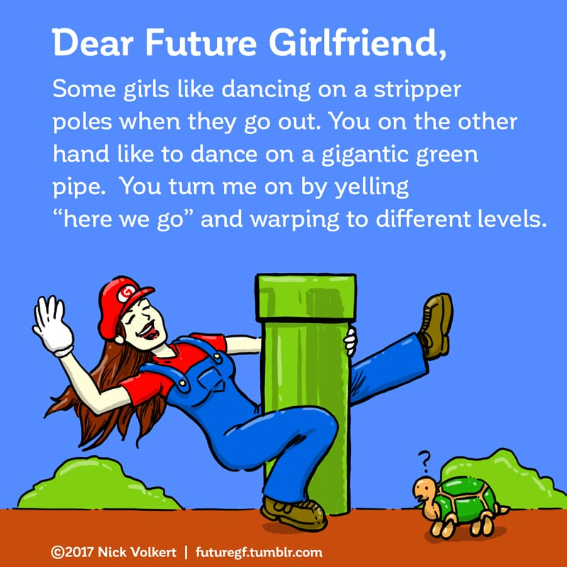 A woman dressed as mario dances on a green pipe