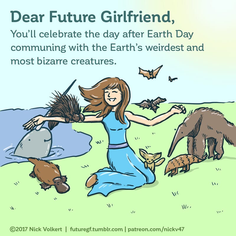 A woman is surrounded by some of the Earth's oddest creatures.