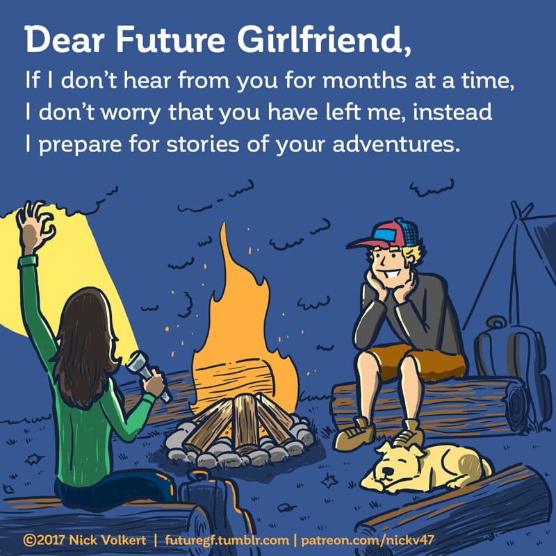 A woman tells campfire stories to an attentive man.