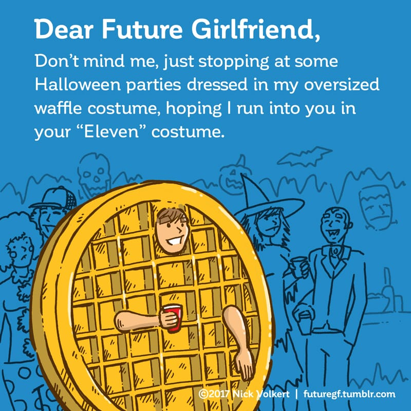 A man works a Halloween party crowd in a gigantic waffle costume.