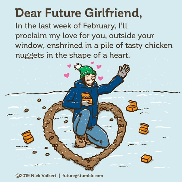 A man expresses his love in a heart shaped formation of chicken nuggets in the snow.