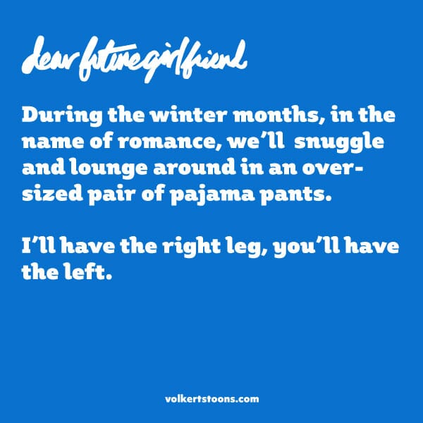 Text-based comic telling about splitting a pair of pajama pants in the cold Winter months.