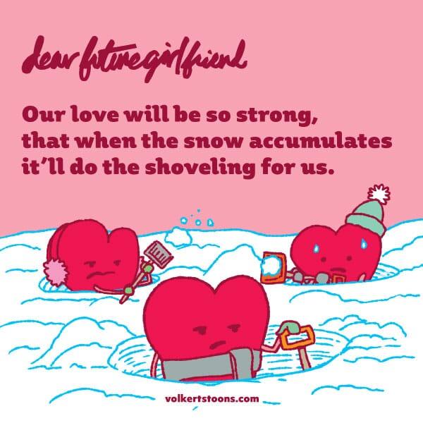 A trio of hearts shovel the snow.