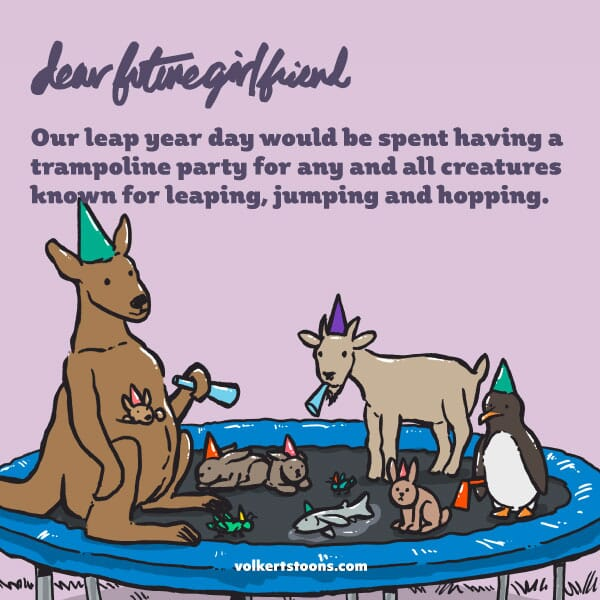 A group of animals that jump are congregated on a trampoline.