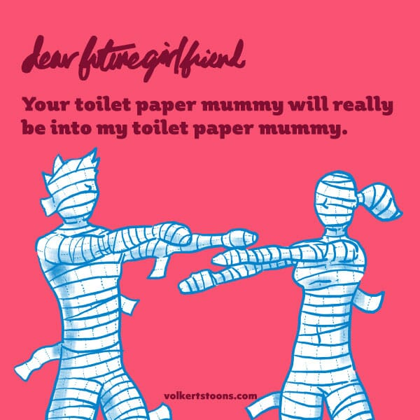 A couple completely wrapped in TP approach each other.