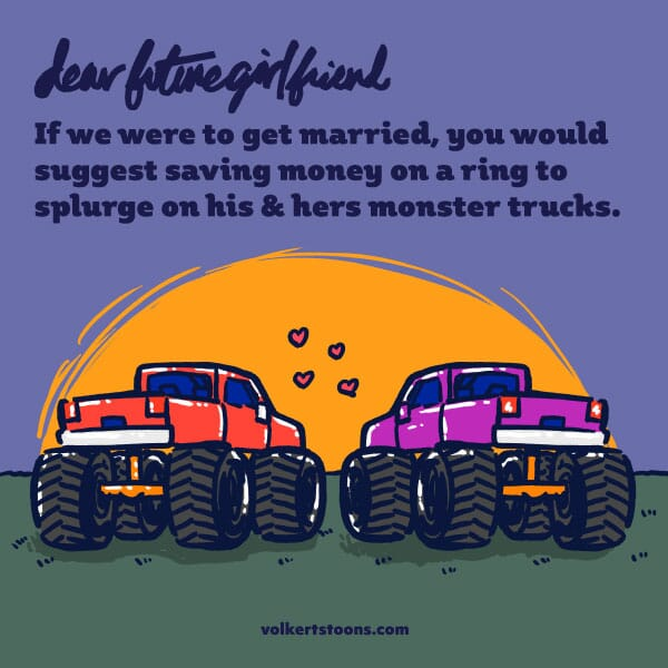 Two monster trucks are parked in front of a sunset.