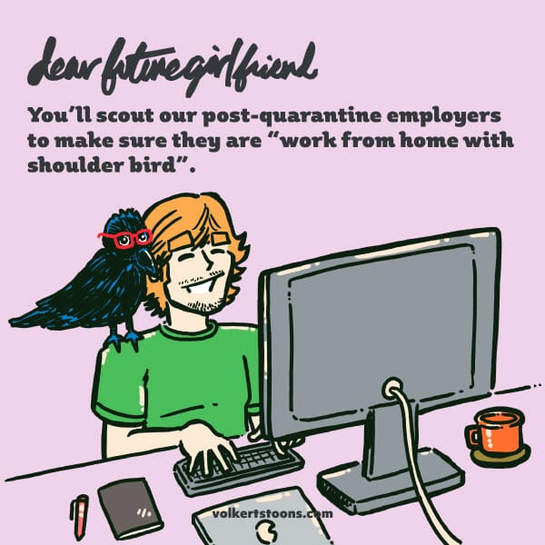 A man works at a computer with a crow perched on his shoudler.