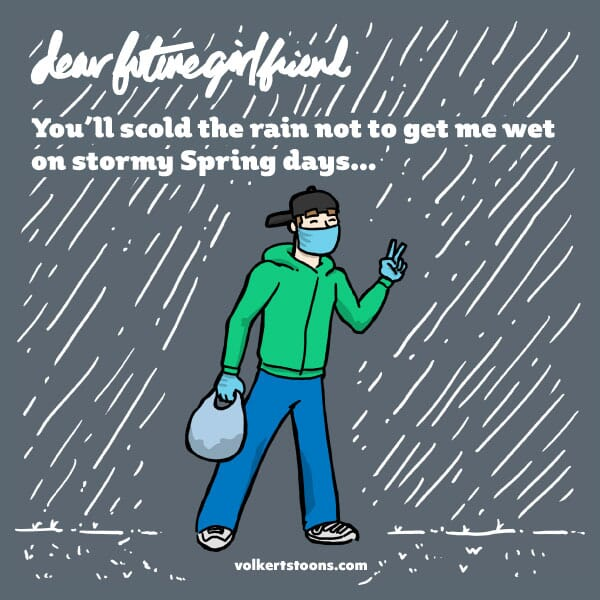 A man is walking untouched by rain.
