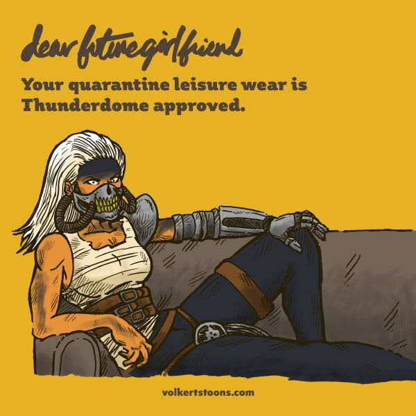 A woman dressed as Immortan Joe lounges on a couch.