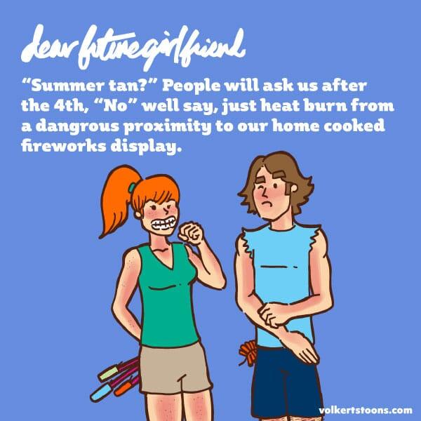 A couple hiding fireworks, sport a noticeable sunburn.