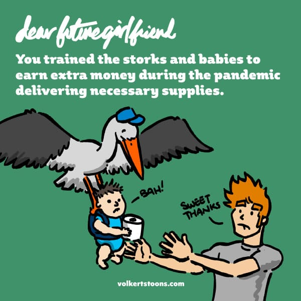 A stork and baby deliver toilet paper to a young man.