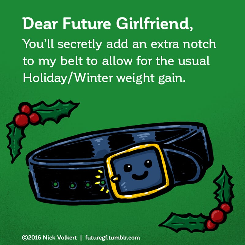 A smiling belt has an extra notch to accommodate holiday weight gain