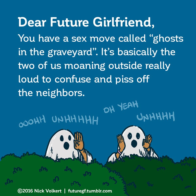 A couple dressed in ghost outfits annoy their neighbors.