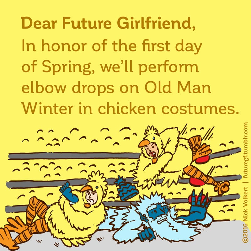 A couple dressed in chicken chick costumes manhandle Old Man Winter in a wrestling match
