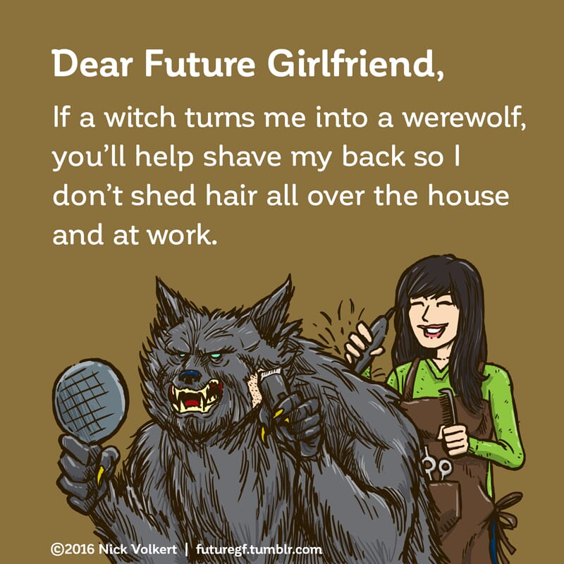 A man who is turned a werewolf is shaving his hair with help from a lady friend.