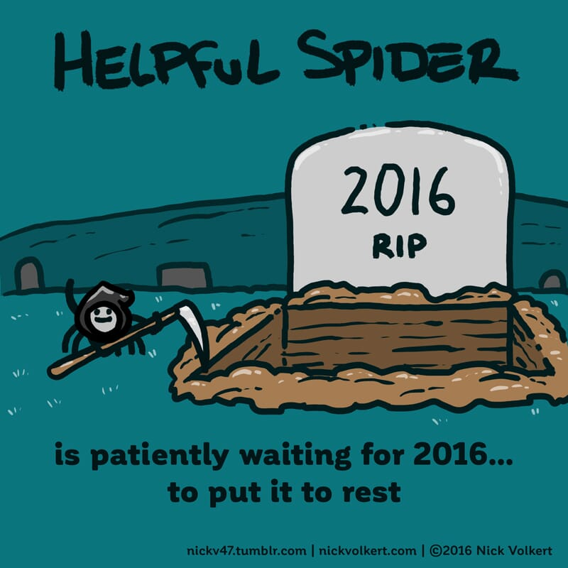 Helpful Spider is dressed as a grim reaper.