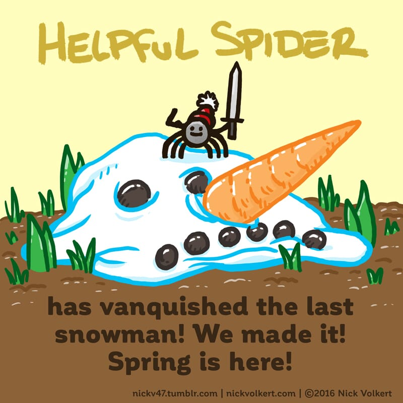 Helpful Spider is holding a sword on a melting snowman head.