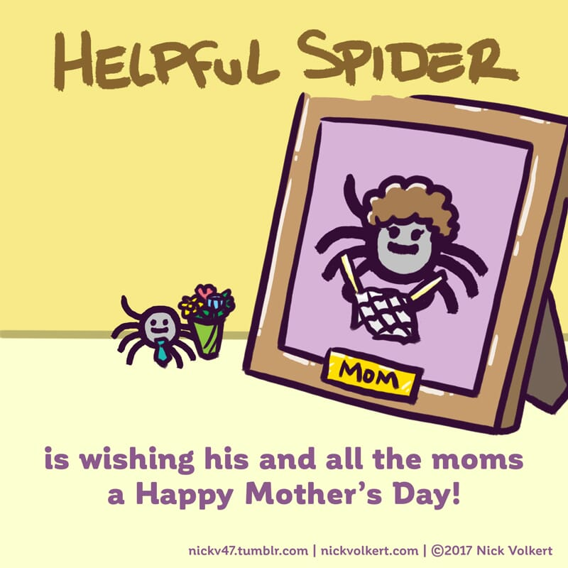 Helpful Spider is holding a bouquet of flowers in front of a picture of his Mom.