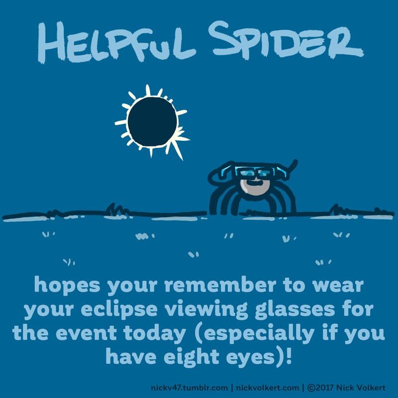 Helpful Spider is watching an eclipse.