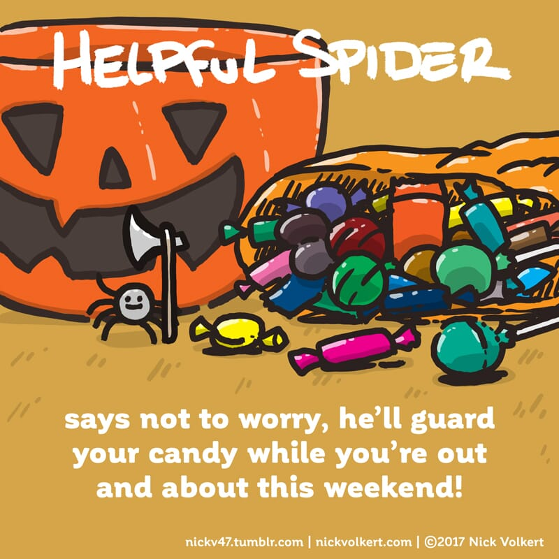Helpful Spider protects some Halloween candy.