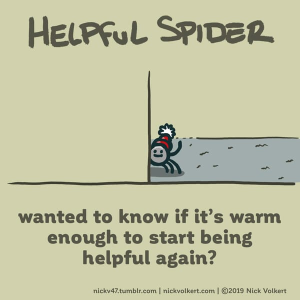 Helpful Spider waves from behind a wall.