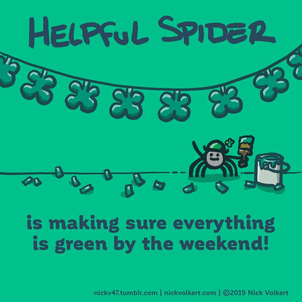 Helpful Spider is holding a green paint brush.